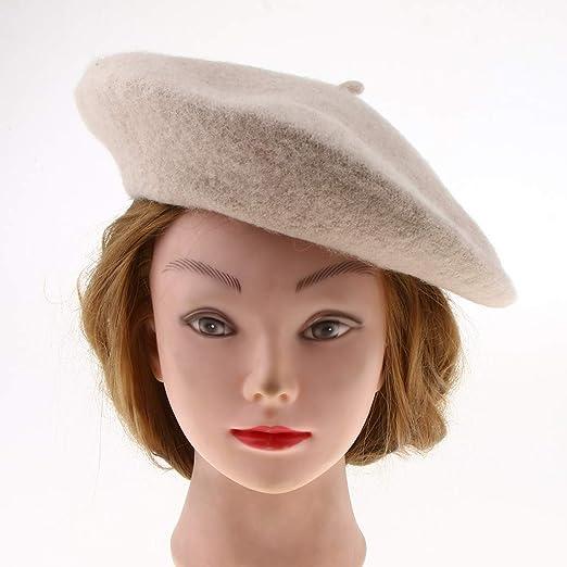 P Prettyia Sombrero de Lana Cálida Invierno Boina Francesa Beret de Pintor  Artista para Mujer Chica Elegante - Estilo 1-Beige f5b7b557d38