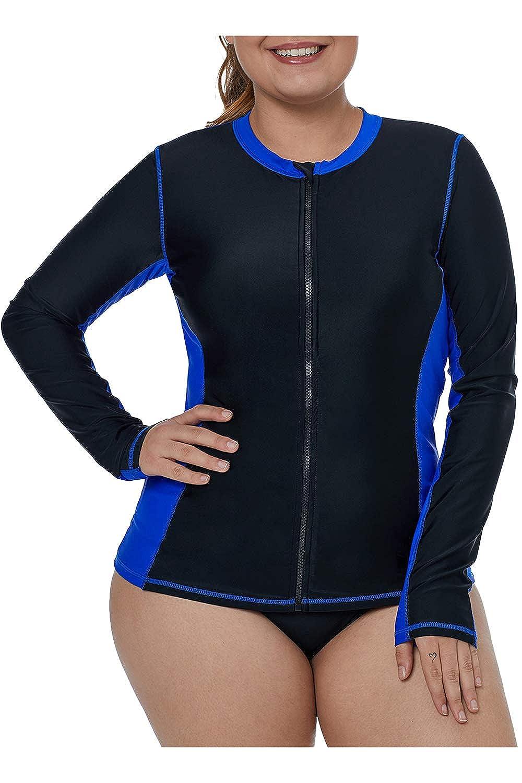Viottiset Womens Plus Size Long Sleeve Front Full Zip Rashguard
