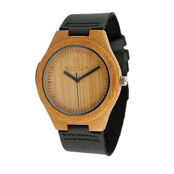 Se para hombre de madera relojes correa de piel único Casual funda de madera reloj negocios vestido reloj de pulsera: Amazon.es: Relojes