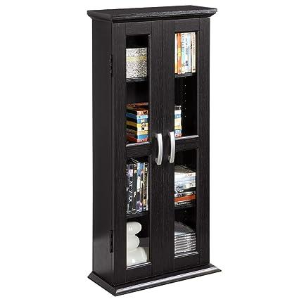 amazon com walker edison 41 wood media storage accent cabinet with rh amazon com