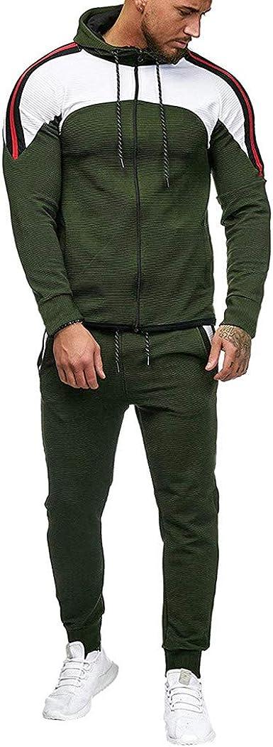 2PCS Men Sports Tracksuit Set Coat+Bottoms Pants Jogging Gym Slim Sweat Suit