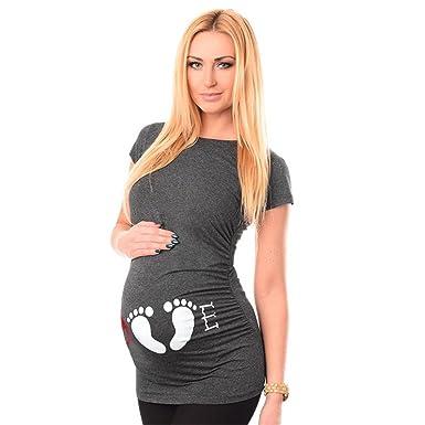 396c95130dd6 HCFKJ Femme Enceinte VêTements Grossesse InfirmièRe à Manches Courtes Pour  Femmes Enceintes De Grossesse Maternité T
