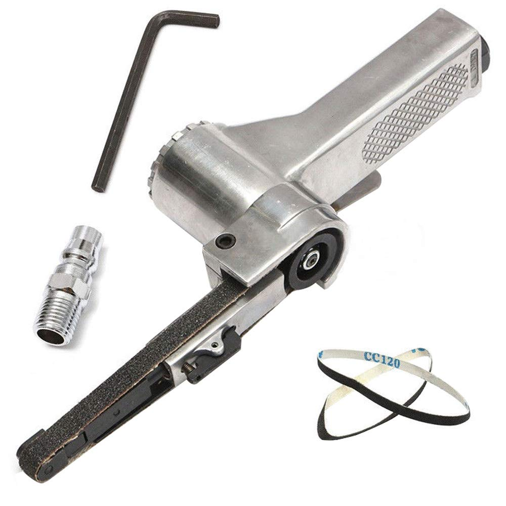 3/8'' Mini Air Belt Sander Portable Hand Held Belt Sander For Air Compressor Sanding With Sanding Belt Pneumatic Tool - Highmoor