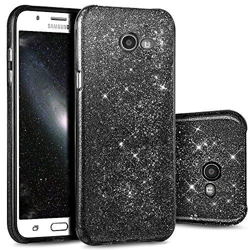 Funda Case Samsung Galaxy A5 2017 A520 silicona,Ukayfe Carcasa Espejo Samsung Galaxy A5 2017 A520 Mirror Case,Ultra fina de Tpu funda de silicona espejo brillante Cover Case, brillantes cristal Bling  negro