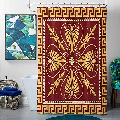 homecoco Shower Curtains Leopard Greek Key,Old Fashioned Frame Design with The Greek Labyrinth and Curly Leaves Flowers, Ruby Yellow,W72 x L72 Christmas Palm Shower Curtain