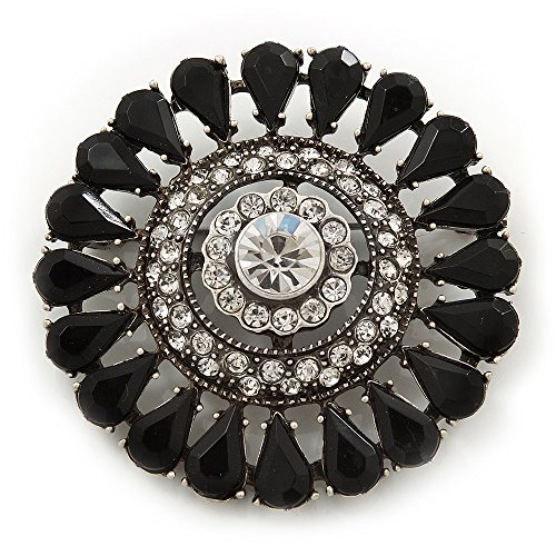 (Vintage Black Acrylic Swarovski Crystal Corsage Brooch In Burn Silver Finish - 5cm Diameter)
