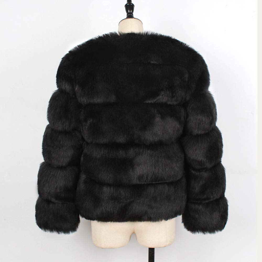 Kulywon Womens Ladies Warm Faux Fur Coat Jacket Solid Winter ...