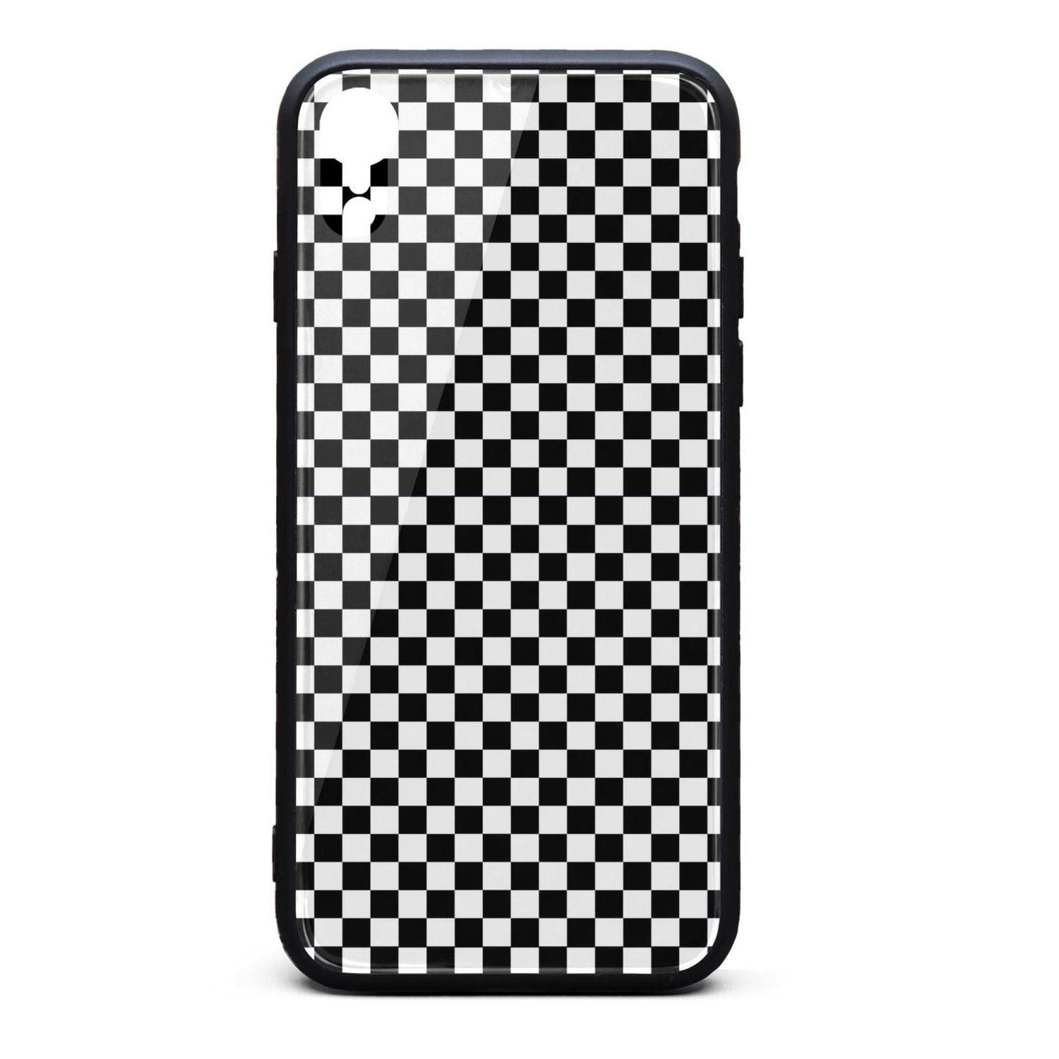 huge selection of e09c7 fe92e Wave Black and White Checkered Phone Case for iPhone xr, Slim Protection  Art Line Design Cell Phone Protective Case