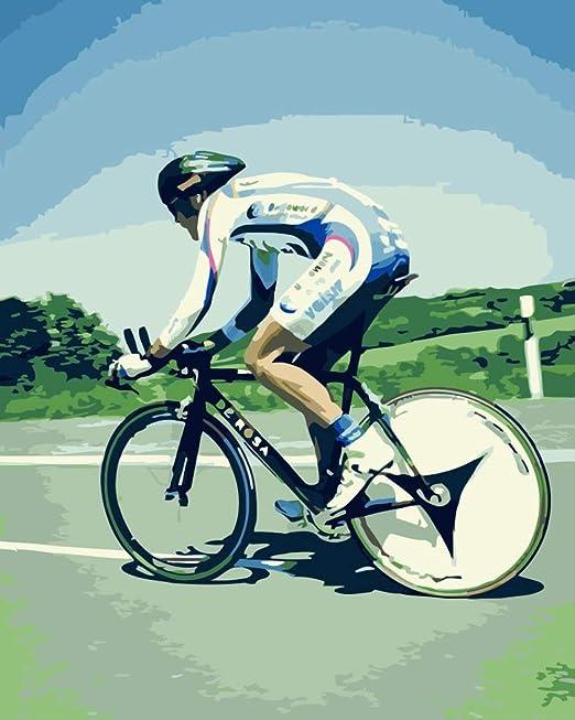 BPAINTF Pintura por números DIY Racing Player Figura de Bicicleta ...