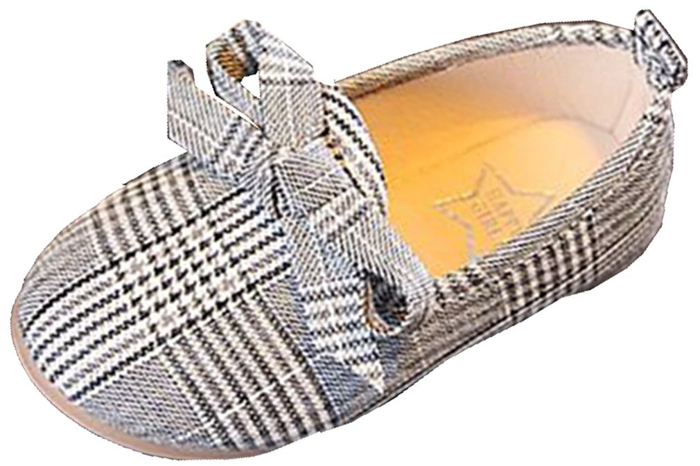 VECJUNIA Girl's Stylish Plaid Round Toe Low Top Slip-On Bows Flat Shoes (Black, 9 M US Toddler)