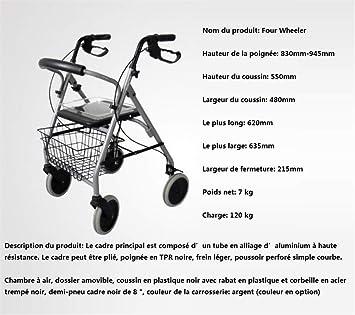 HGFLYF Rollator Plegable Ligero de 4 Ruedas con Estructura ...