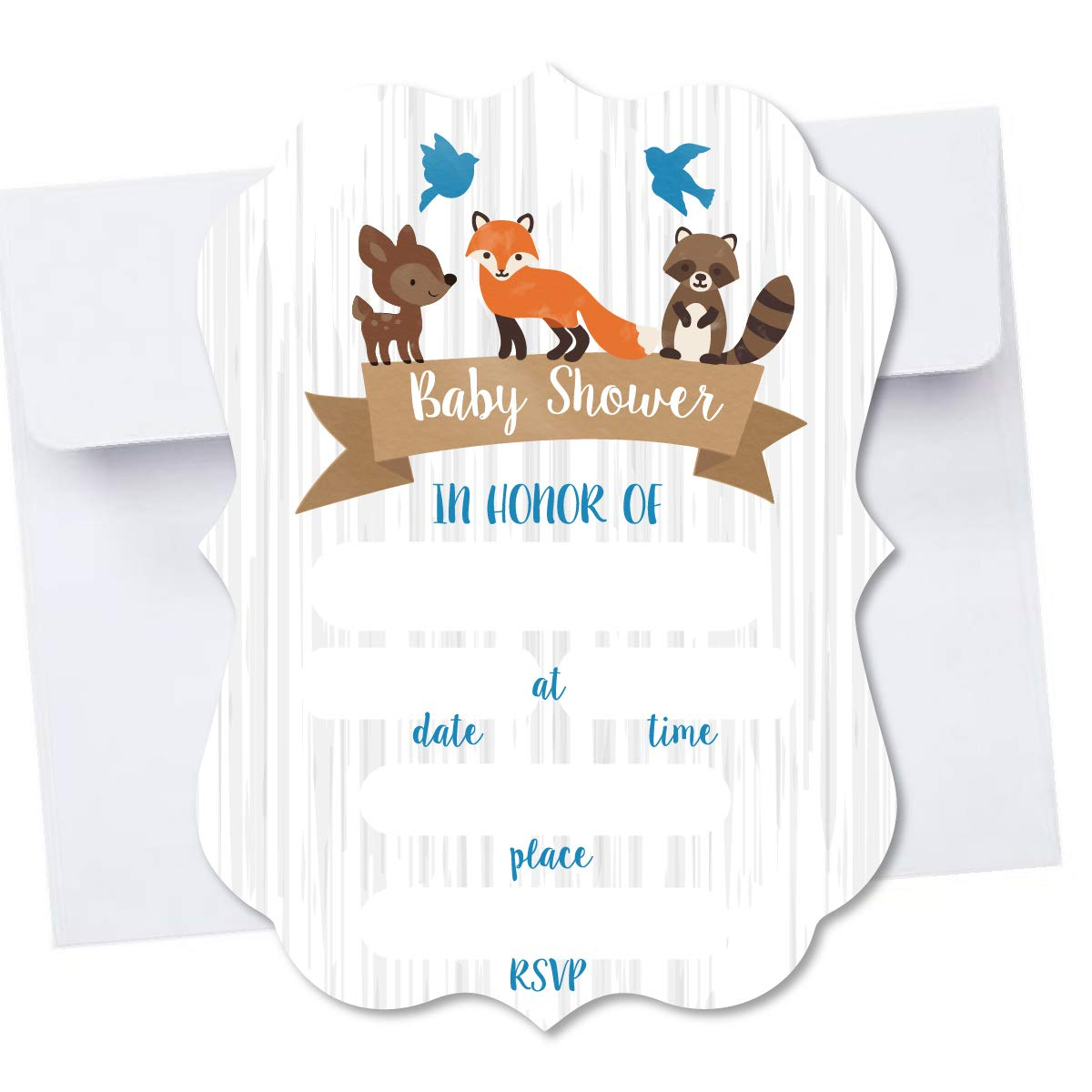 Woodland Creatures Die Cut Shape Blank Fill in Invite Baby Shower Invitation 10 Pack Envelopes A7 5x7 Die Cut Design (Blue)