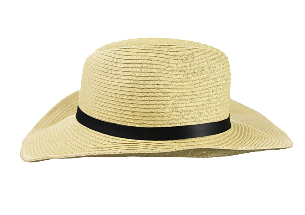7668b698f1e Men s Summer Beach Wide Brim Straw Cowboy Hat with Leather Band UPF 50+ Sun  Protection Hat Fedora Trilby Sun Hat Gambler Hat with Chin Strap   Amazon.co.uk  ...