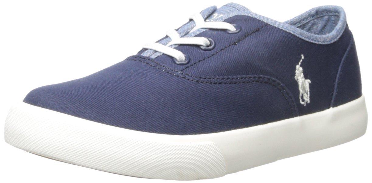Polo Ralph Lauren Kids Vali Gore N Chino-B Chambray Fashion Sneaker (Toddler/Little Kid), Navy/Blue, 13 M US Little Kid