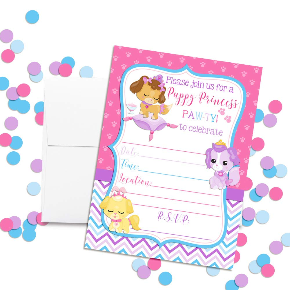 Amazon.com: Princess Puppy Birthday Party Invitations for Girls, 20 ...