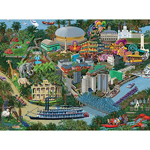 Bits and Pieces - 300 Large Piece Jigsaw Puzzle for Adults - New Orleans City View - 300 pc Bourbon Street Jigsaw by Artist Joseph Burgess (Puzzle Mardi Gras)