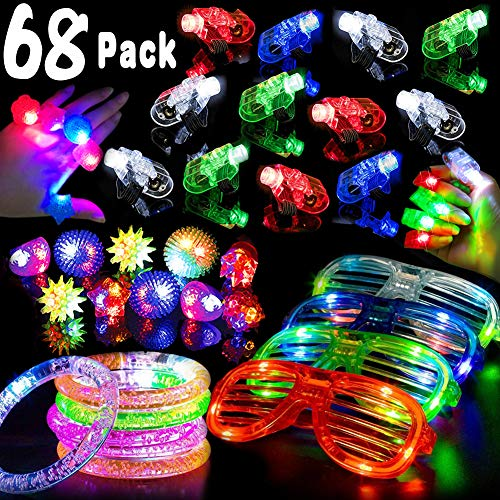 2019 Birthday Party Pack, 68 Pcs LED Light Up Toys Glow In The Dark Party Supplies Carnival Party Favors for Kids Teens 50 LED Finger Lights 10 Light Up Rings 4 Light Up Glasses 4 Glow Bracelets