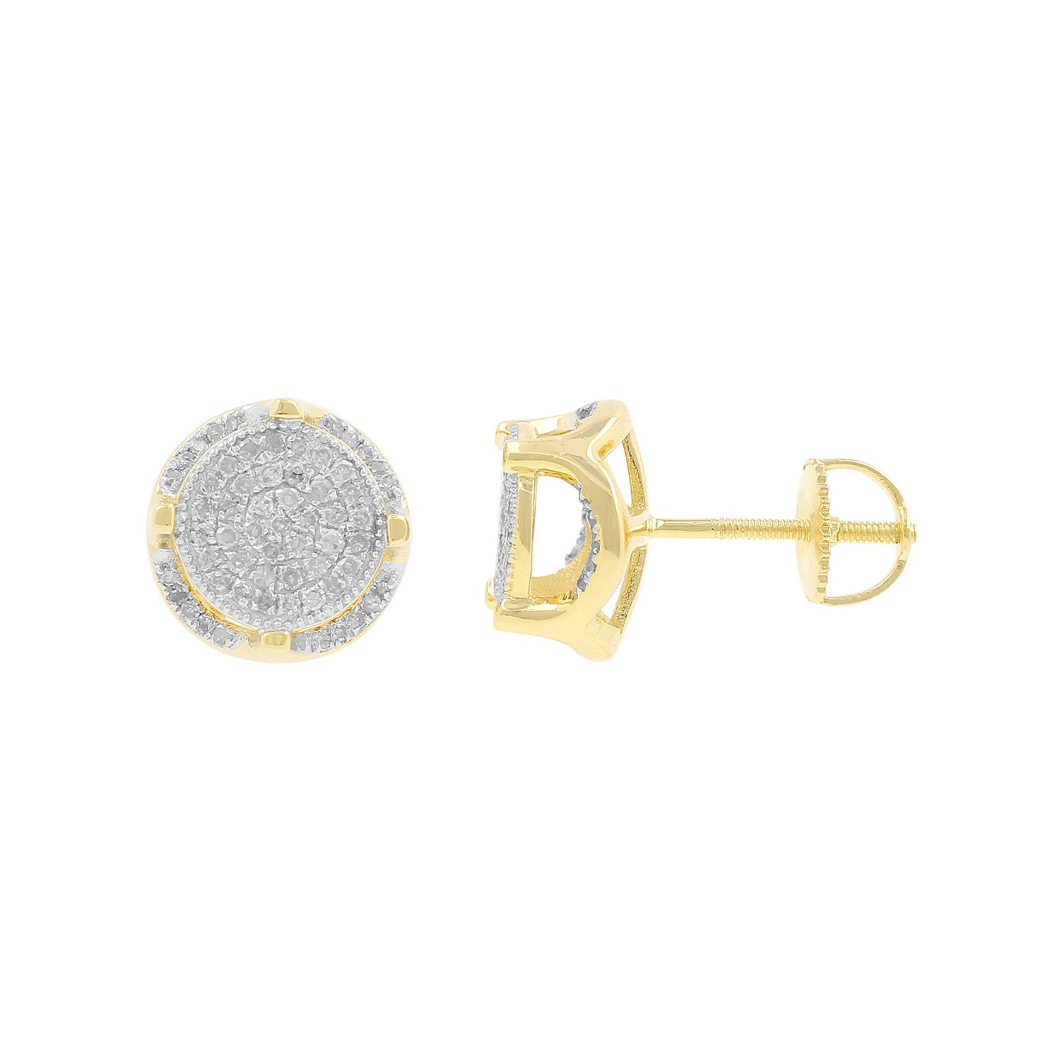 0.40ct Diamond Round Cluster 10.5mm Wide Mens Iced Stud Earrings in Yellow Gold Over 925 Silver-3/8 CTTW (I-J, I2-I3)