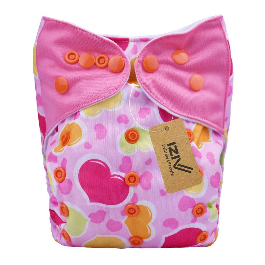 iZiv(TM) Recién Nacido Orgánico con 1 Inserte Grueso Infantil Impermeable/Ajustable/Reutilizable/Lavable Pañal de Tela de Bolsillo aptos Bebés 0-3 años(Color-1) Dlife