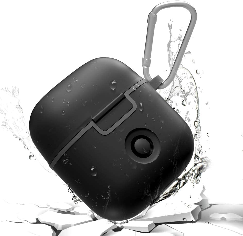 AddAcc AirPods Waterproof Case Protective Cover, Shockproof TPU Skin AirPods Case with Keychain, Dust Resistent AirPods Charging Case Compatible for Apple AirPods-Black