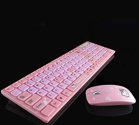 Ratón y teclado inalámbrico conjunto rosa dibujos animados ...