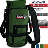 Wild Wolf Outfitters Water Bottle Holder for 40oz Bottles Green - Carry, Protect and Insulate Your Best Flask with This Military Grade Carrier w/ 2 Pockets & an Adjustable Padded Shoulder Strap