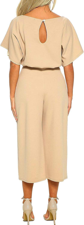 Aranmei Elegante Tuta da Donna Jumpsuit Manica Corta Vita Alta Girocollo Playsuit Ampio Gamba Pantaloni con Cintura