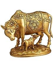 Nandi Cow and Calf Brass Idol Statue/Idol/Showpiece/Decorative Diwali Gift Kamdhenu Brass Item/Home Decor/Office Decorative Items (7.0 x 8.5 x 4.2 inch and Weight 3100 Grams)