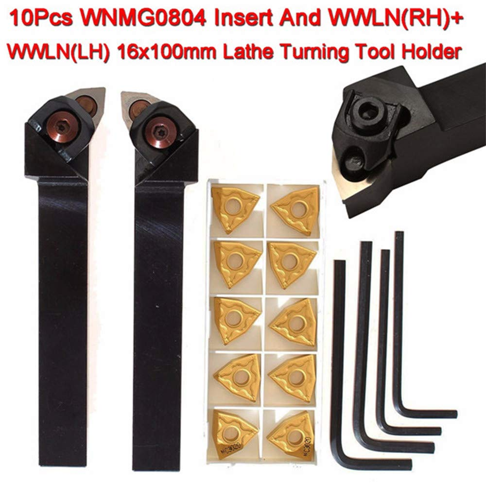 2pcs Lathe Turning Tool Holder Right /& Left 10pcs WNMG0804 Inserts CNC Blades