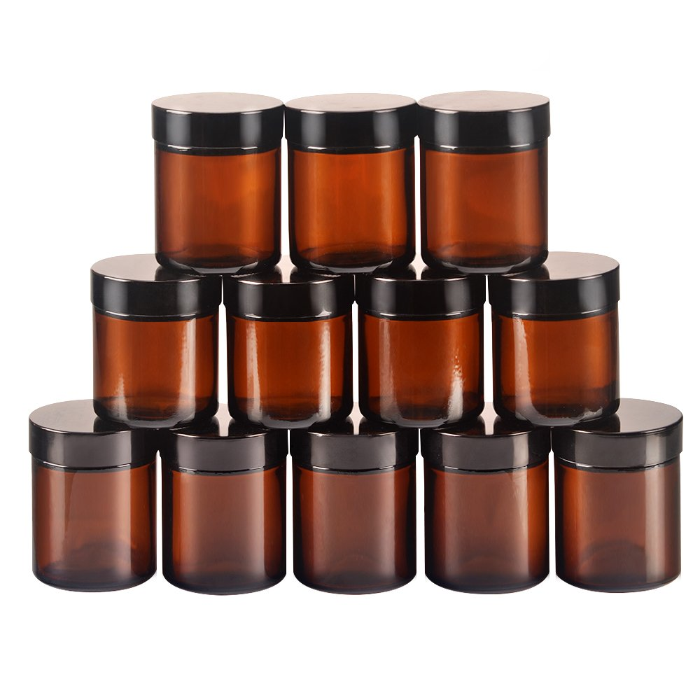 StarSide 12 pack 4oz Empty Amber Glass Round Jars bottles with White Inner Liners and black Lids. Glass Jars Prefect for Cosmetics and Face cream Lotion.