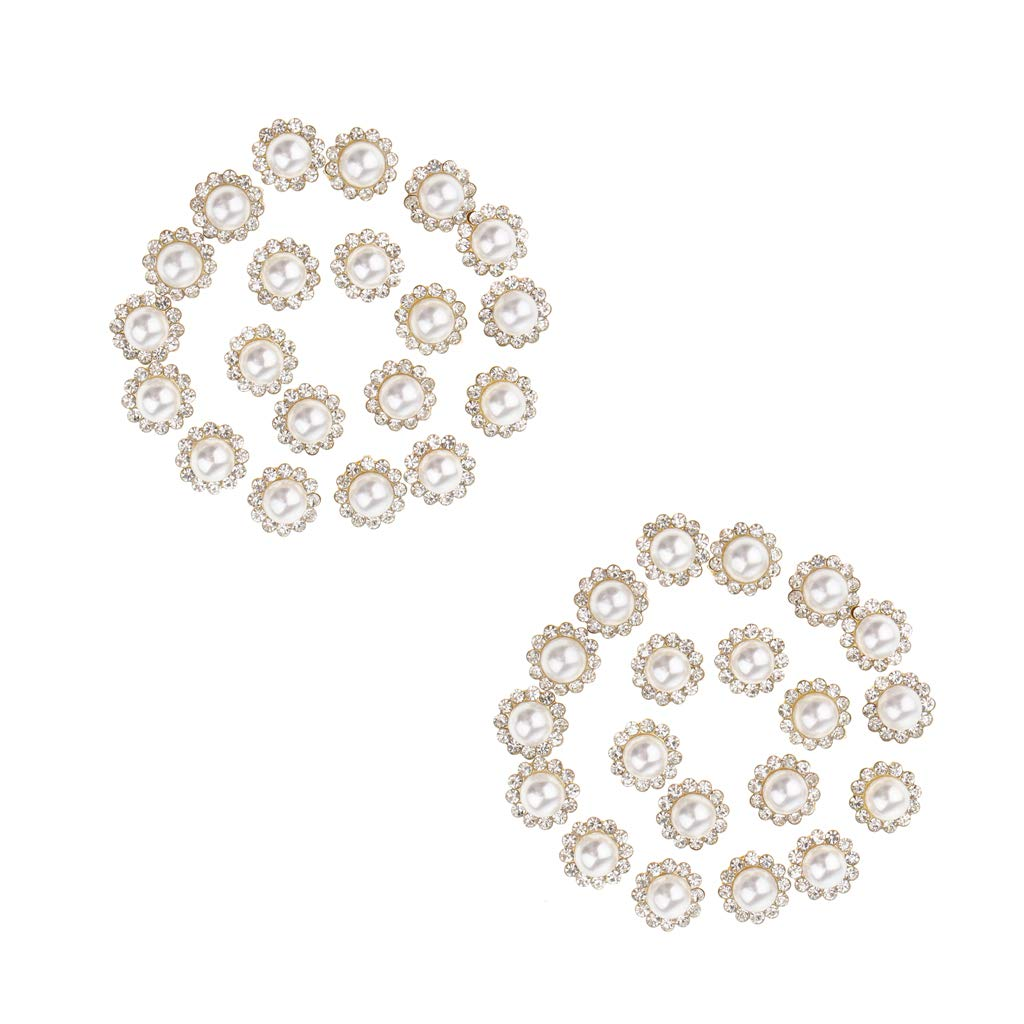40x Rhinestone Faux Pearl Embellishment Button Flatback DIY Decoration 12mm