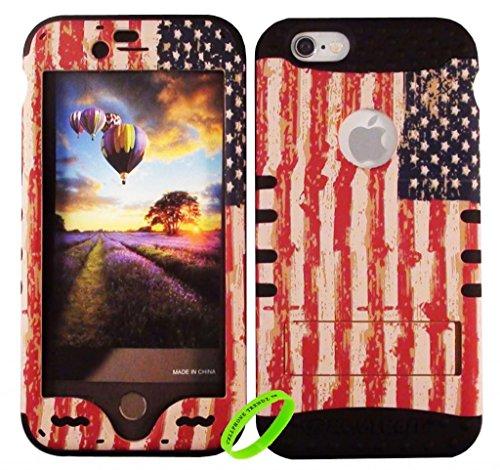 Cellphone Trendz New 3-piece HARD & SOFT RUBBER HYBRID ROCKER HIGH IMPACT PROTECTIVE CASE COVER for Apple iPhone 6 4.7 inch 6th Generation - American Flag Hard Case Design on Black Silicone (Flag Plastic Hard Case)