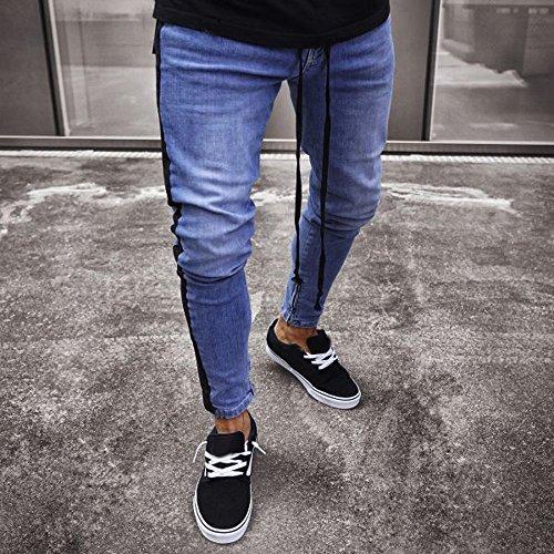 Design Nero Ginli Jeans Uomo Della Slim Sguardo Stretti Strappati Distrutto Personalità Fit Pantaloni 7EESqnZ