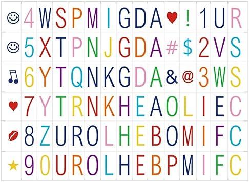 90 letras coloridas para la caja de luz cinematográfica del tamaño ...
