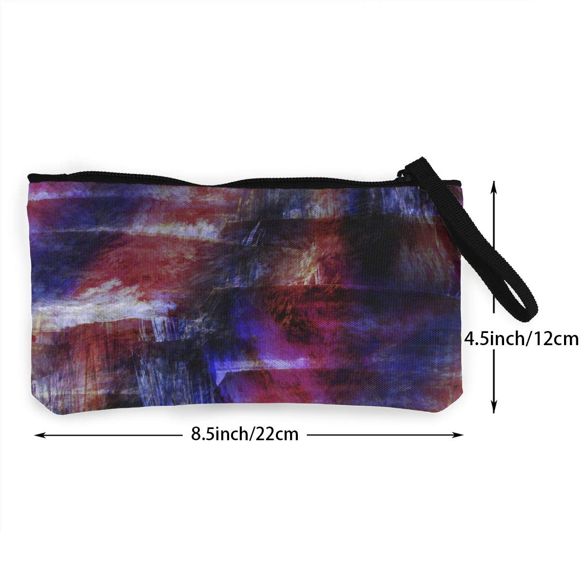 Watercolor Purple Red Pattern Canvas Change Coin Purse Small Cute Wallet Bag with Zip