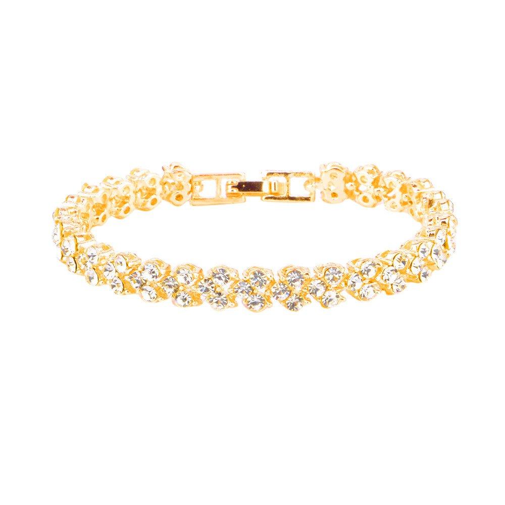 baskuwish Tennis Bracelet with Diamonds, Gold Round Cut White Diamond Ladies Tennis Bracelet for Women&Girls (Gold)