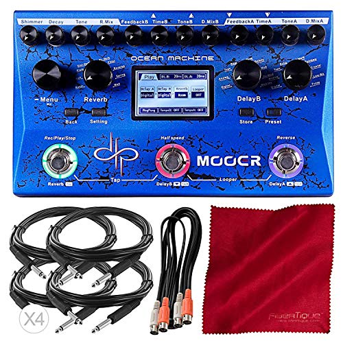 MOOER Ocean Machine Premium Dual Delay Reverb and Looper (TDL3) with Cables and Microfiber Cloth