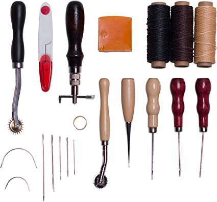 Leather Craft Hand Stitching Sewing Tool Set Thread Awl Waxed Thimble Kit Waxed Thimble Thread Basic Stitching Sewing Tools for DIY Leather Craft Man ZJchao Leather Tool Kit