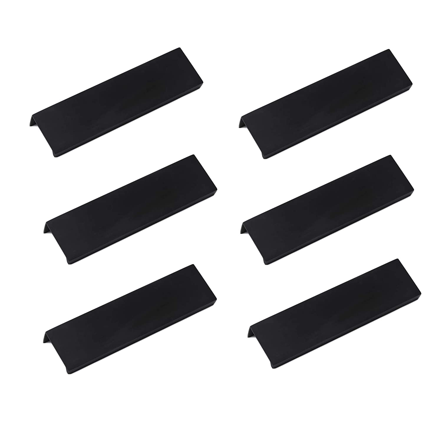 """LICTOP 15cm/5.9"""" Black Aluminum Home Kitchen Cabinets Drawers Collection Long Center Finger Edge Pull Tab Handle(6Pcs)"""