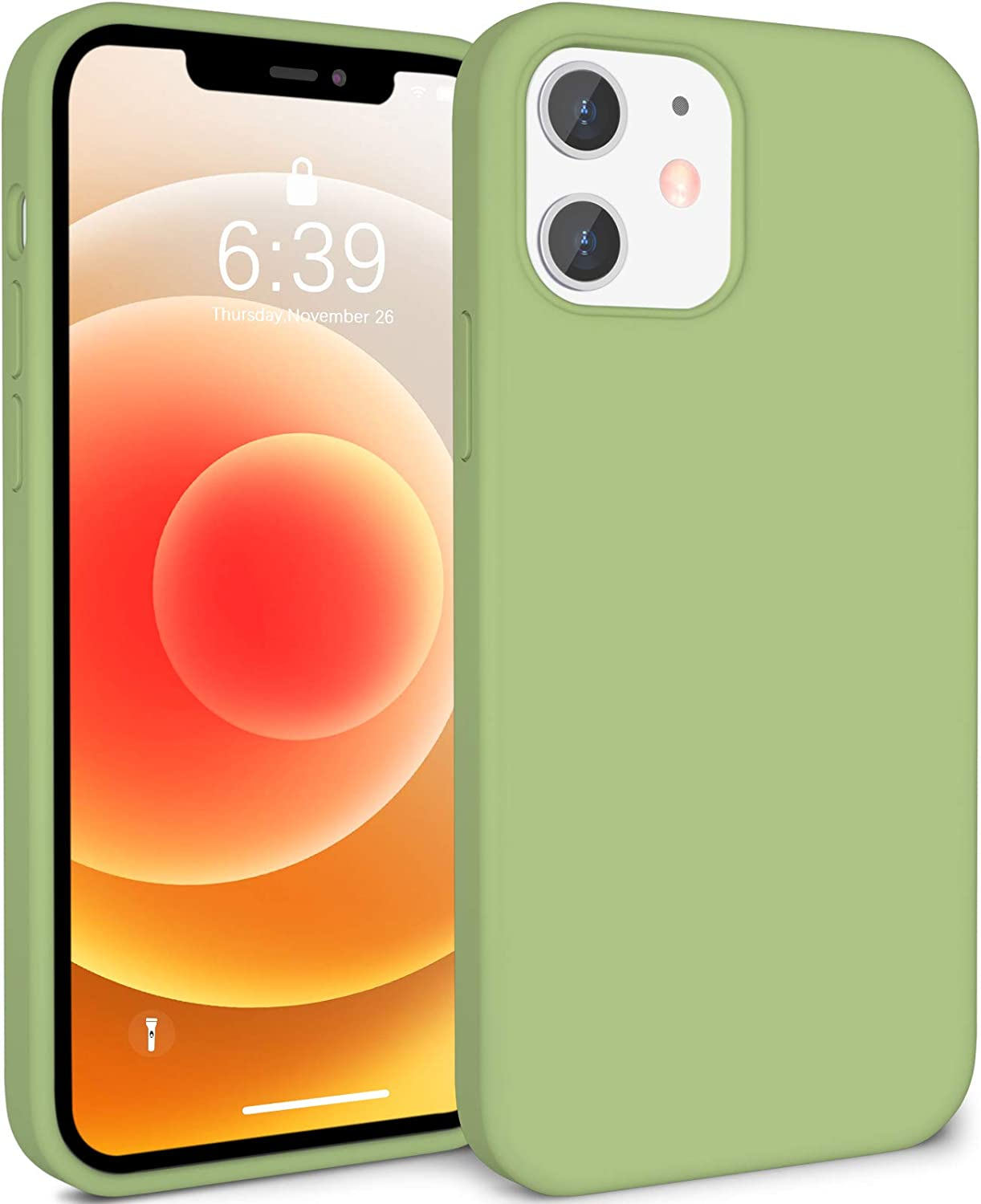 ATUAT Compatible with iPhone 12 Case and iPhone 12 Pro Case 6.1 inch, Silky Soft Liquid Silicone Case, [Snug Fit] [Screen & Lens Protection] [Shock-Absorbing] - Matcha