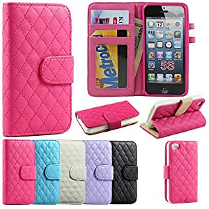 KIKO Wireless Premium Quilted Square Diamond Design Flip PU Leather Wallet Series Window ID Credit Card Holder Hard Protector Case Cover with Stand for Apple iPhone 5/5S (Hot Pink) – Retail Packaging