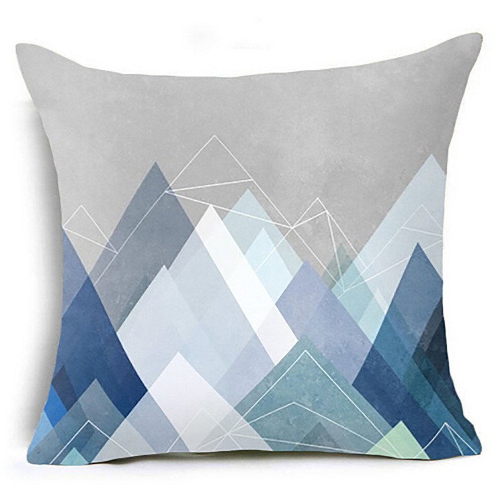Chenway Geometric Printed Throw Pillow Case,Zipper Waist Cushion Decoration CaseCover for Sofa Livingroom Home Decor (H)