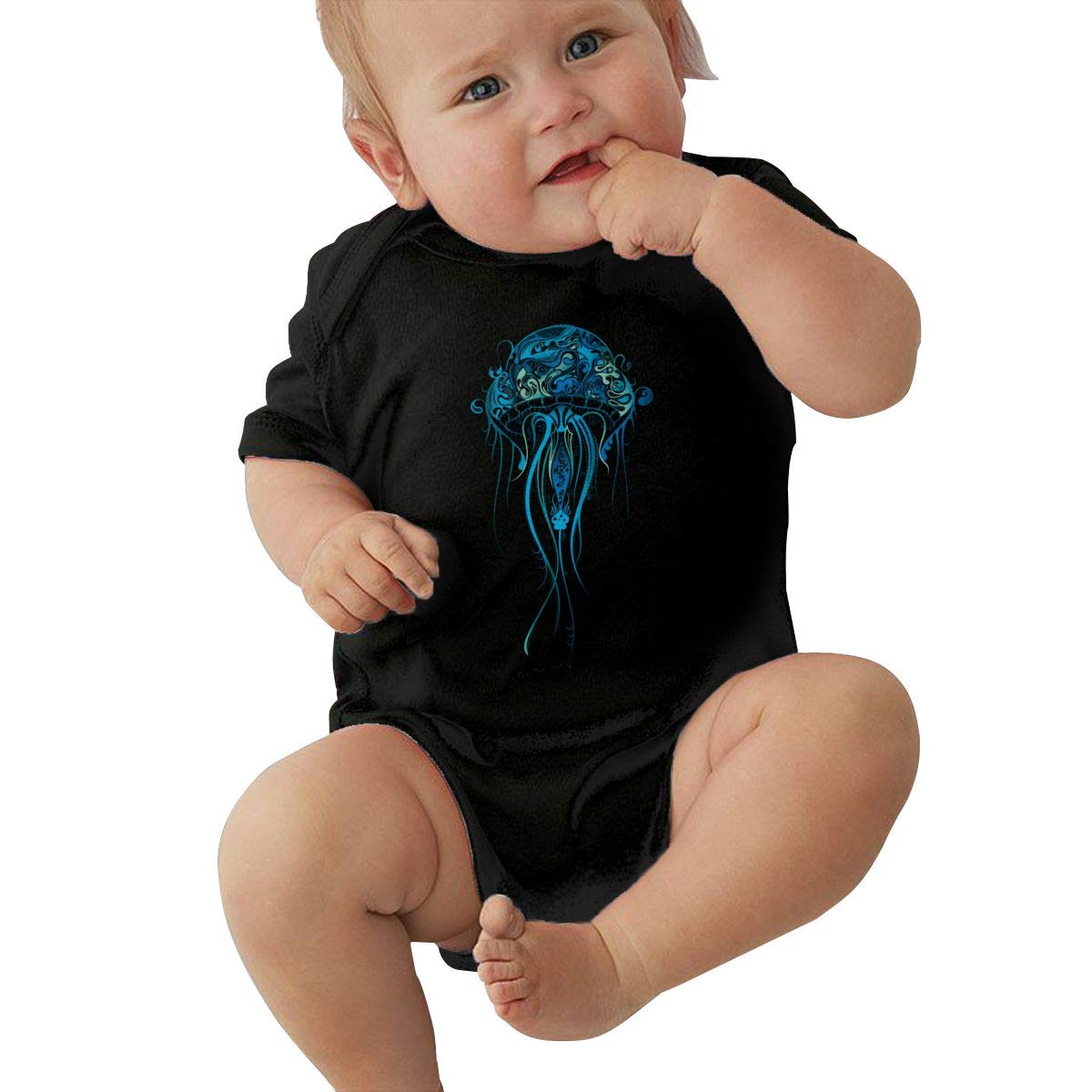 Dfenere Blue Jellyfish Graphic Newborn Baby Short Sleeve Bodysuit Romper Infant Summer Clothing Black