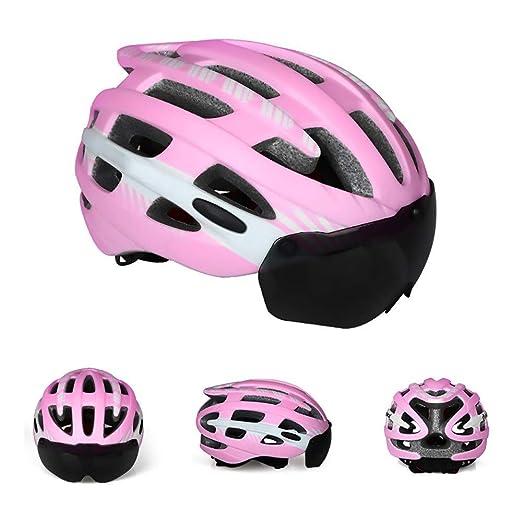 Chitty Gafas Magnéticas Casco Deportivo Casco para Bicicleta Integrado Casco para Bicicleta De Montaña Al Aire Libre Tamaño Ajustable Seguro (Color : Pink, Size : M): Amazon.es: Hogar