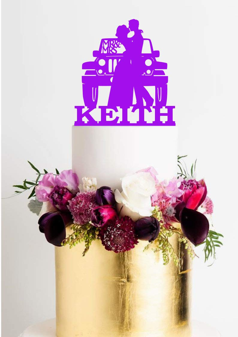 Amazon Com Jeep Wedding Cake Topper With Surname Jeep Cake Topper Jeep Wedding Jeep Topper Mr And Mrs Cake Topper Mr And Mrs Jeep Groom Loves Jeep Grocery Gourmet Food