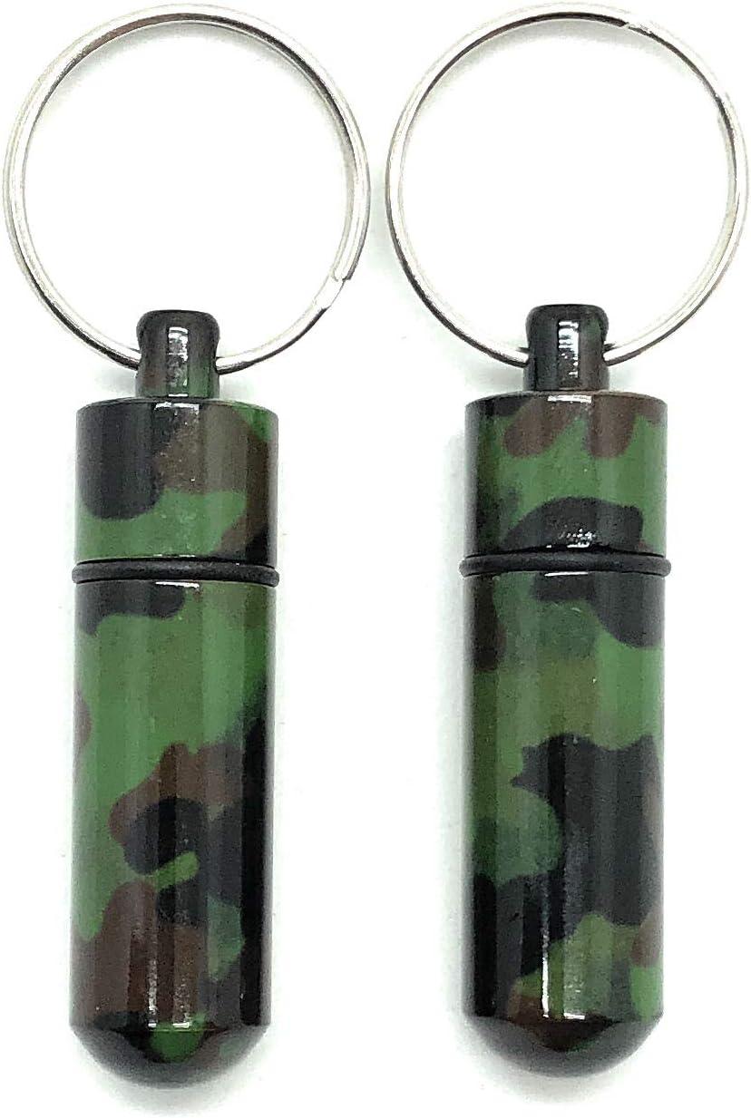 pour Le Camping et lext/érieur Longueur 5,2 cm /ø 1,4 cm Porte-cl/és Aribari en Camouflage 2 pi/èces Camouflage. bo/îte de Rangement imperm/éable Mini bo/îte /à pilules en Aluminium