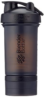 BlenderBottle ProStak - Botella de agua y mezcladora (1 x 650ml, 2 recipientes 150ml & 100ml, 1 recipiente para las grageas) Negro