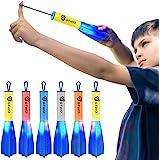 D-FantiX Slingshot Finger Rockets Toys for Kids, 6 Pack LED Foam Rocket Launcher, Flying Light Up to 100 Feet, Summer Outdoor