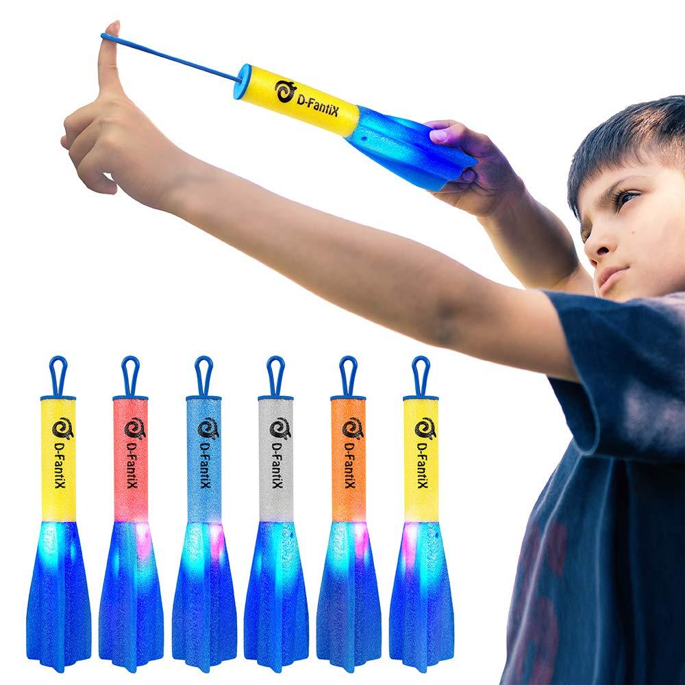 D-FantiX LED Foam Finger Rockets, Slingshot Flying Rocket Toy for Kids Outdoor Camping Glow Up Party Favors Gift Pack of 6 with Storage Bag