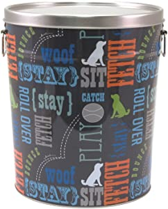 "Paw Prints 37581 15 lb. Tin Pet Food Container, Wordplay Design, 12""H x 10.25"" W x 10.25"" L, Word Design"